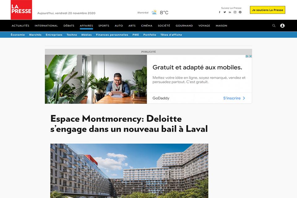 Espace Montmorency: Deloitte s'engage dans un nouveau bail à Laval